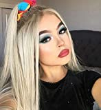 Cosswigs Long Straight Ombre Blonde Lace Front Wig for Halloween Realistic Looking Synthetic Hair Lace Wigs for Women 22inches