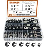 ISPINNER 52pcs Cable Clamps Assortment Kit, 304 Stainless Steel Rubber Cushion Pipe Clamps in 6 Sizes 1/4' 5/16' 3/8' 1/2' 5/8' 3/4'
