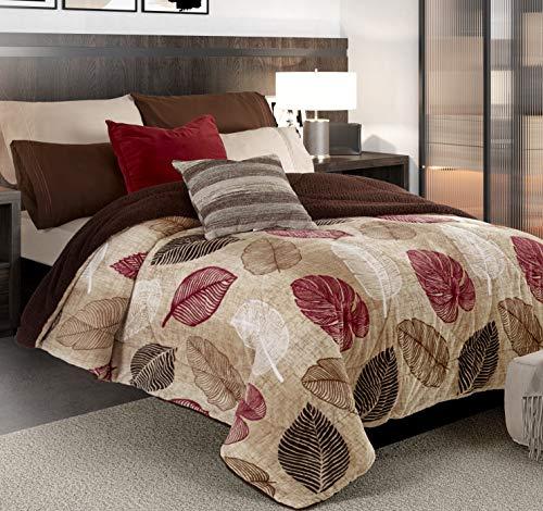 Primor Casa Premium MicroMink Otono Sherpa Comforter Oversize Blanket - Ultra Soft - Ultra Warm - Brown, Beige with Burgundy Fall Autumn Leaf/Leaves Design - Elegant and Modern (King Size)