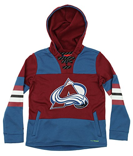 Reebok NHL Youth Colorado Avalanche Offside Poly Fleece Hoodie, Maroon Large (14-16)