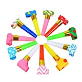24 Pieces Blowouts Noisemakers Funny Party Blowouts Blowers Musical Blowouts Party Horns Noisemakers Blowouts Whistles, Random Color