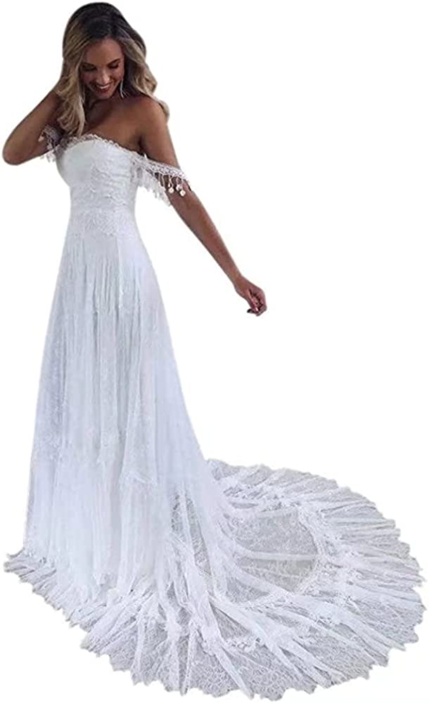 QueenBridal A Line Retro Spaghetti Straps Sweetheart Lace Bridal Gowns Beach Wedding Dress QU188