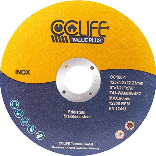 CCLIFE 50PCS Disco de corte inoxidable 125 x 1,2 x 22,23mm