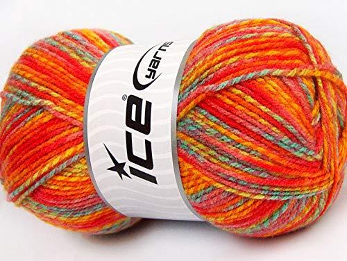 Fiesta Baby Mix - Orange Yellow Red Pink Blue Green Premium Acrylic Sport Weight Yarn 100 Gram, 404 Yards