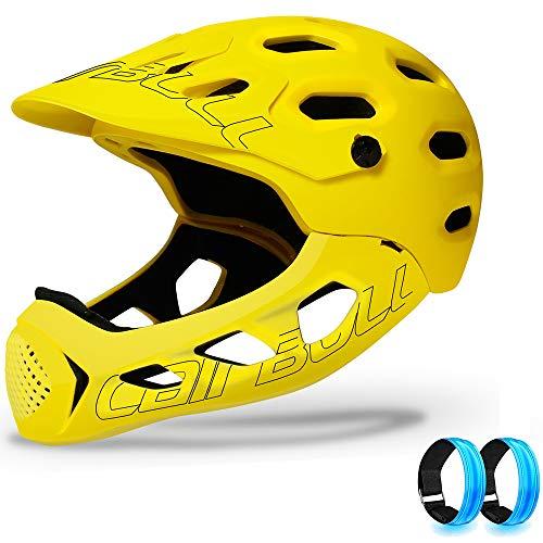 JJIIEE Casco da Bici Leggero, mentoniera Staccabile per Mountain Bike Fuoristrada, Certificazione di Sicurezza CE (Dimensioni 56-62 cm), 2 bracciali LED gratuiti,Giallo