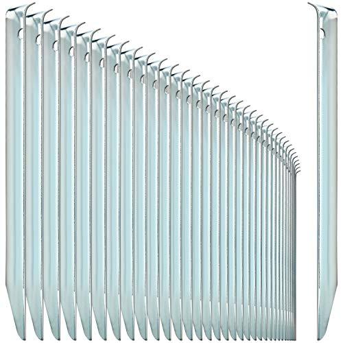 com-four® 36x Zelt-Heringe aus Stahl - halbrunde, robuste Erdnägel für Camping und Outdoor - ideal für normalen Boden