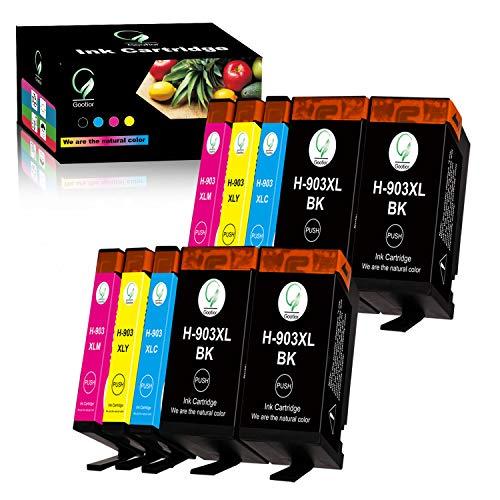 Gootior 903XL Cartucho de Tinta, 10 Multipack Compatible de Alto Rendimiento (Nuevo Chip) para HP OfficeJet 6950, HP OfficeJet Pro 6960 6970 Impresora (4 Negro, 2 Cian, 2 Magenta, 2 Amarillo)