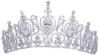 RENSLAT Tiara Nuziale con Cuore in Cristallo Corone con Strass Corona da Spettacolo per Fasce per Capelli da Sposa Gioiell...