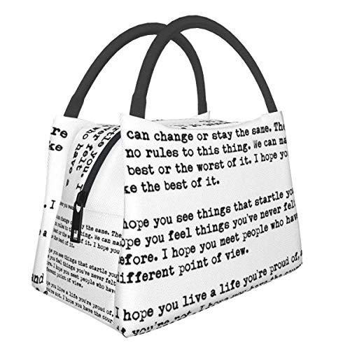 ClownFish Bolsa de almuerzo portátil con aislamiento térmico, F Scott Fitzgerald con citas a prueba de fugas, plegable, reutilizable para picnic, viajes, trabajo, escuela