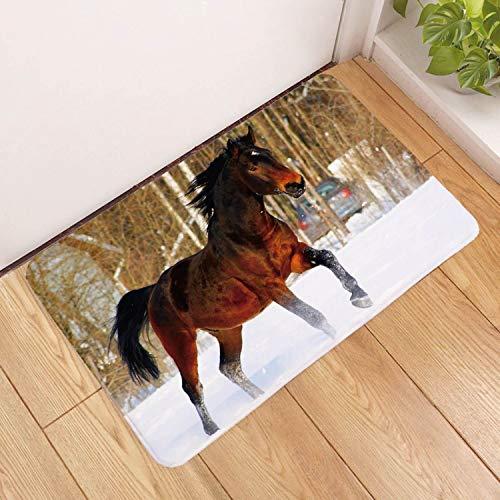 Deurmat, 3D-rood paard dier in sneeuwdruk antislip ingangsdeur mat, deurmat welkom slaapkamer gang tapijt rechthoekige zachte deurmat voor huis woonkamer keuken 40×60cm