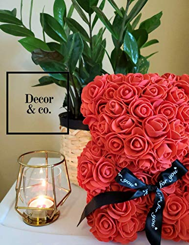 """Rose Covered Bear   San Valentin Day Rose Bear for Valentines Day by Decor & Co (Red, 10"""")"""
