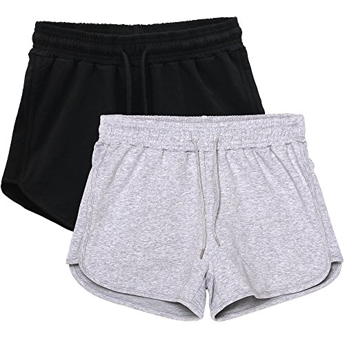 HBY 2 Pack Women's Casual Running Workout Yoga Shorts Sports Fitness Short Pants Black/Grey Small