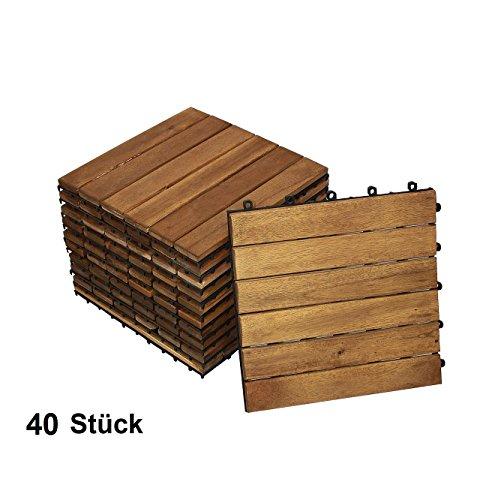 SAM Terrassenfliese 01, Akazienholz, 40 Fliesen für 3,6m², 30x30cm, FSC® 100% Zertifiziert, Bodenbelag mit Drainage, klick-Fliesen, Balkon, Garten