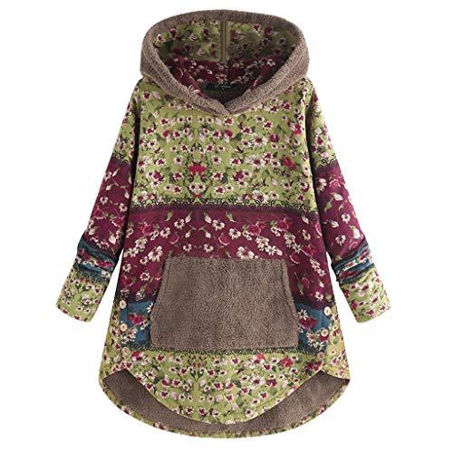 Lazzboy Kapuzenpullover Frauen Fleece Patchwork Blumendruck Langarm Taschen Hoodie Top Teddy Damen Plüschmantel Mit Taschen, Herbst Einfarbige Pullover Winter Outwear(Grün,2XL)