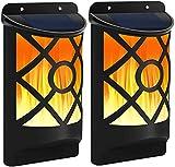 66 LED antorcha solar jardín luces parpadeantes llama solar pared luces al aire libre impermeable Dancing luces de pared para jardín, camino, césped, patio, patio (2PACK)