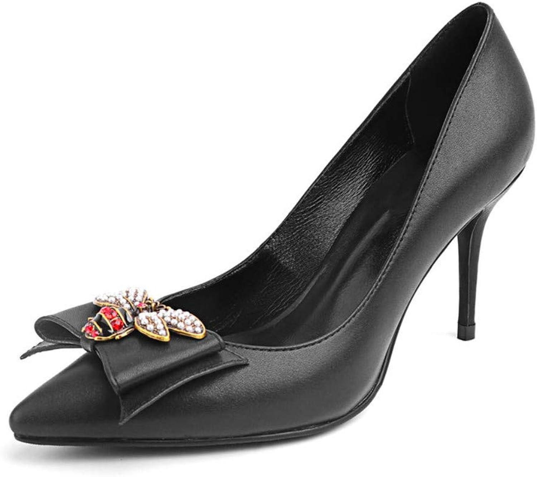 MagicXle Damen Schuhe mit hohem Absatz Schaffell Schuhe Einzelne Schuhe Diamantspitze Flache, Dünne Fersen