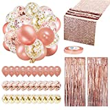 Rose Gold Balloons Party Decorations Supplies Set 35 Pack Include 30 Balloons, 2 Foil Fringe Curtains, 1 Rose...
