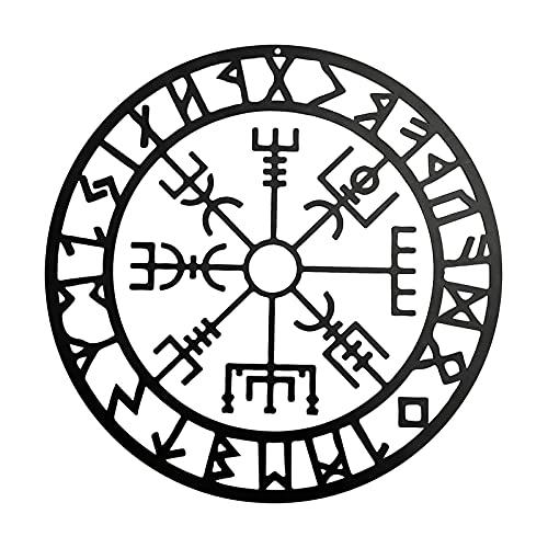 CHITANG 11 Inch Nordic Mythology Decor Black Metal Viking Wall Decor Viking Compass Metal Art, Nordic Mythology Vegvisir Runes and Symbols for Home Decor, Interior Decoration