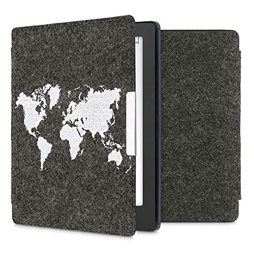 kwmobile Funda Compatible con Kobo Aura H2O Edition 2 - Carcasa Plegable de Fieltro para e-Reader - Case Mapa del Mundo Blanco/Gris Oscuro