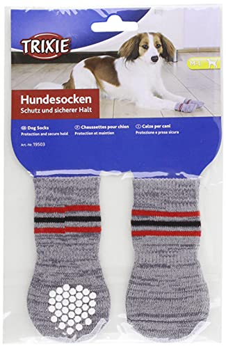 Trixie 19503 Hundesocken, Anti-Rutsch, M–L, 2 St., grau