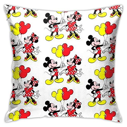 Gypsophila Pillowcase Mickey with Minnie Decorative Throw Pillow Covers Cushion Cover for Home Sofa 18 X 18 Inch