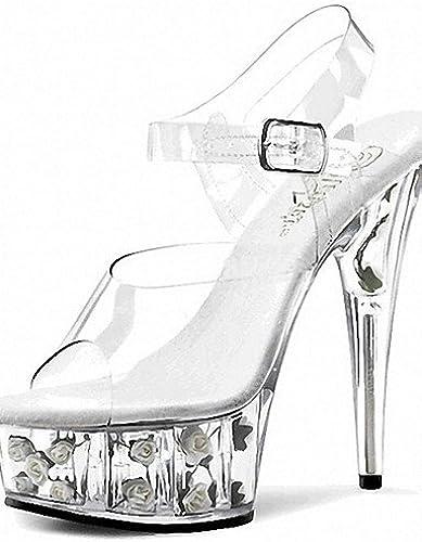 Ggx femme Chaussures en PVC Printemps été Peep Peep Toe Plateforme talons Sandales fête de mariage et soirée décontracté Stiletto Talon  jusqu'à 60% de réduction