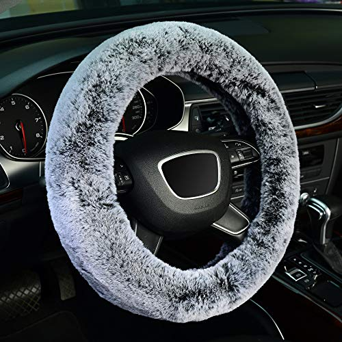 KAFEEK Frost Fluffy Microfiber Plush Steering Wheel Cover for Winter Warm, Universal 15 inch Soft Fuzzy Steering Wheel Cover,Cool Black