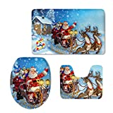 Aoopistc Santa Claus with Reindeer Design Soft Absorbent Toilet Seat Cover Bath Mat Lid Cover 3 Pcs Set Non Slip Rug, Toilet Lid Cover and Bath Mat