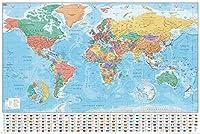 ヨーロッパから見た 世界地図 と 国旗 World Map & Flag ポスター ( 英語表記)