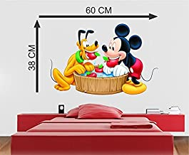 MADHUBAN DECOR PVC Vinyl Removable Decor Wall Stickers (Multicolour) (Micky and Bruno)