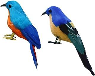 Sharplace 2 x Oiseau Artificielle Plumes Figurine en Polyéthylène Paysage Ornement Réaliste Jardin Décor Noël Bricolage Ha...