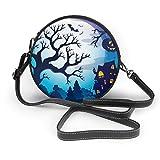 Spooky Tree Theme (2) - Bolso bandolera de piel sintética con cremallera para mujer, diseño de árbol, para trabajo, viajes, citas, personalizable