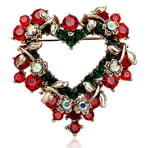 LONDADI Christmas Decorations Sale, Women Fashion Christmas Love Heart Wreath Breast Pin Lovely Brooch Pin Xmas Gift Merry Christmas Ornaments Xmas Decor Party Decor Xmas Gifts Stocking Fillers