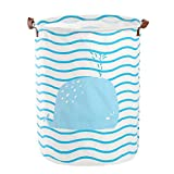 LiChaoWen Cesta para la colada de algodón con rayas azules de ballena, circular, impermeable, plegable, cesta plegable para la colada (color: azul, tamaño: 40 x 50 cm)