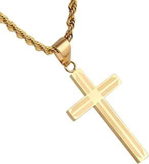 Simple Gold Stainless Steel Cross Pendant Necklace True Religious, 22 inch Rope Chain for Women Men