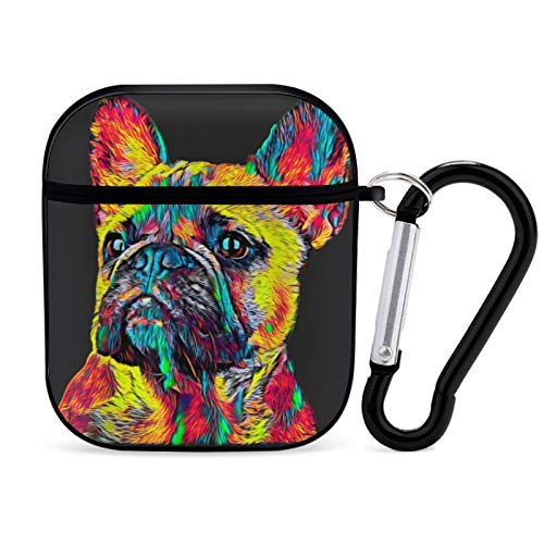 Cute French Bulldog Airpods Case Cover for Apple AirPods 2&1 Cute Airpod Case for Boys Girls Silicone Protective Skin Airpods Accessories with Keychain