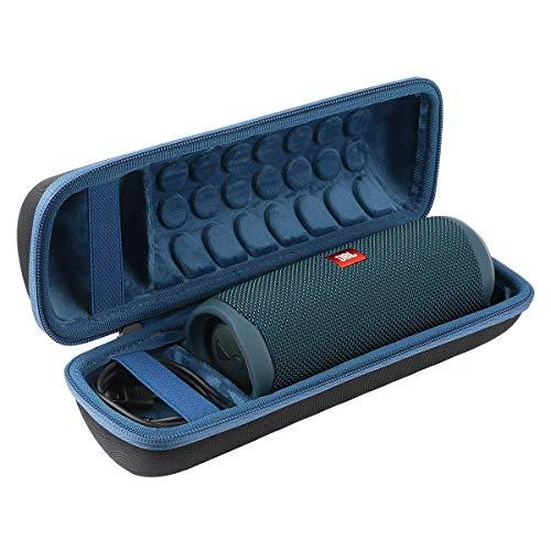 Khanka Hart Tasche Schutzhülle für JBL Flip 5 Bluetooth Box tragbarer Lautsprecher and Zubehör. (Blau Futter,Schwarzes Äußeres)