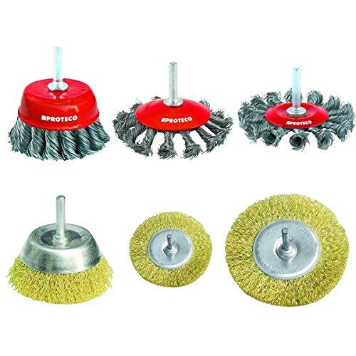 Proteco-Werkzeug® Set 6 tlg Drahtbürste Drahtbürsten mit Einspannschaft 6 mm für Bohrmaschine Topfbürste Rundbürste Pinselbürste Kegelbürste gezopfter gewellter Draht