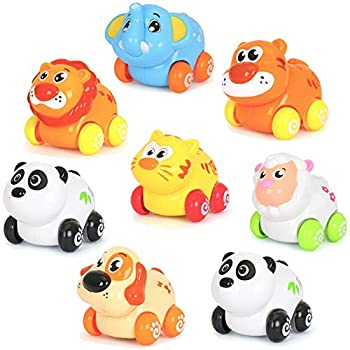 Cartoon Animals Friction Push and Go Toy Cars Play Set for Baby  Set of 8
