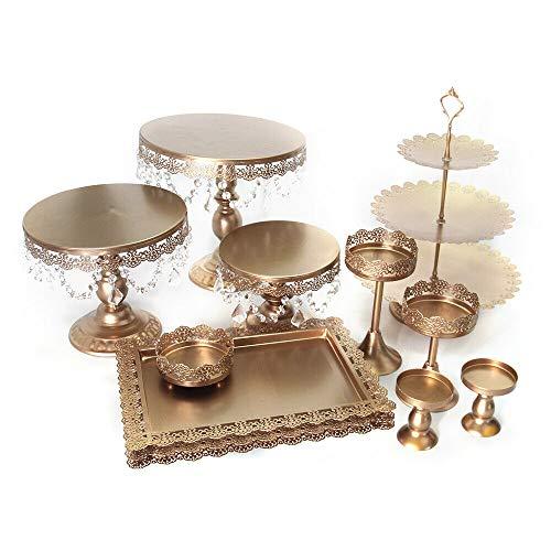 12pcs Torten Ständer Set mit Kristall Tortenständer Europäischer Stil Eisen Luxus Gold Kuchenteller für Hochzeits Bankettdekorationen und Gebäck Verwendet