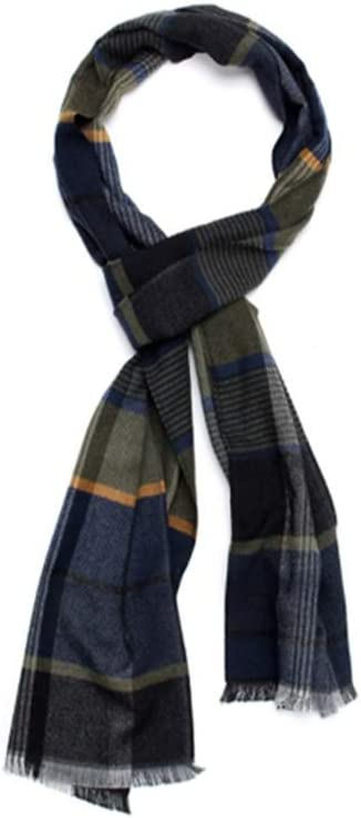 ZANZAN Cold Weather Scarves Men's Scarves in Winter, Fashionable and Warm Plaid Wool Blended Thick Long Plaid Scarf for Parents Thanksgiving Gift Decorative Scarf