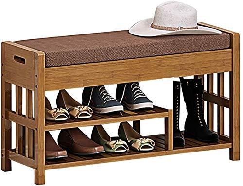 Wddwarmhome Zapatero de bambú de madera maciza, estante de almacenamiento multifuncional, estante de almacenamiento simple, 90 x 29 x 49 cm (color: A)