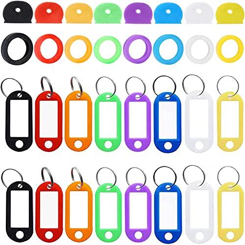 Etiquetas de plástico para cubierta de tapa de llave de 32 piezas, etiquetas de identificación de llave, llavero de identificación con ventana, etiquetas de oficina con anillos de metal