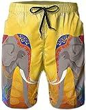 yukaiwei1 - Pantalones Cortos de natación para Hombre, diseño de Elefantes y Pavo Real como Cuadro L