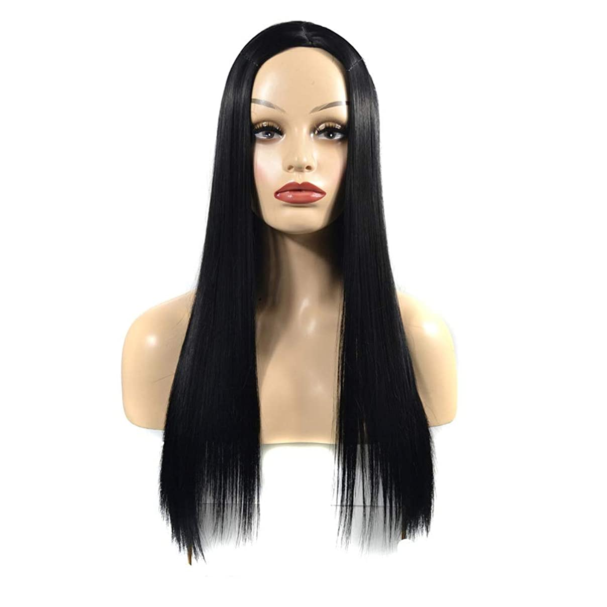 変装した適度におもてなしVergeania オンブルブラックウィッグロングストレートウィッグパーティー用かつら (色 : ブラック, サイズ : 60cm)