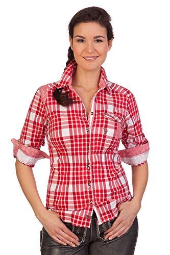 Spieth & Wensky Trachten Bluse Crashoptik, Langer Arm - Wicke - grün, rot, Größe 52