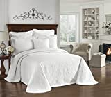 HISTORIC CHARLESTON Bedspreads Coverlet - King Charles Collection 120' x 114' Size 100% Cotton Oversized Matelasse Bed Spread, King/Cal King, White