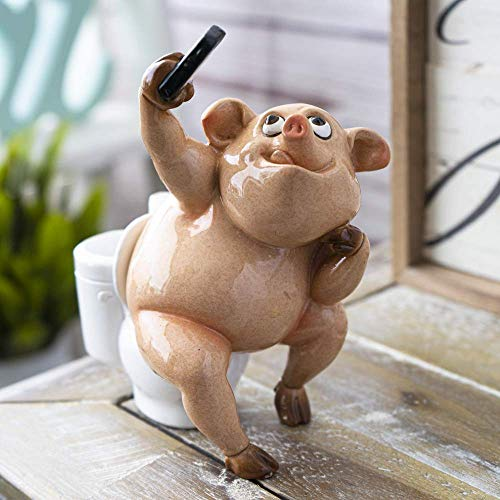 SUMMIT COLLECTION Creative Laughter Whimsical Pigs Figurine Novelty Ornaments Tabletop Decor Polyresin Piggy Figurine (Selfie Pig)