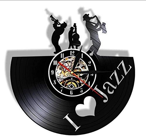 CQAZX Jazz Musik Player Schallplatte Wanduhr Blues Jazz Musik Noten Kunst Dekoration...