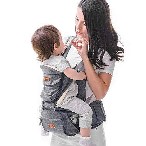 SUNVENO Baby Hip Seat Ergonomic Baby Carrier 3in1 Baby Hipseat for Outdoor Travel Waist Stool (Gray)